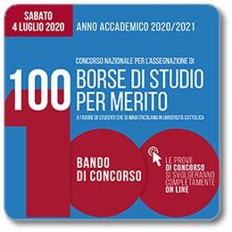 Locandina Bando di concorso 100 borse di studio per merito 2020/2021
